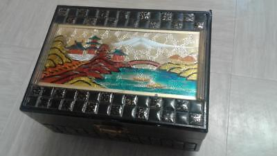 vintage Chinese musical jewellery box with inlaid metal? lid
