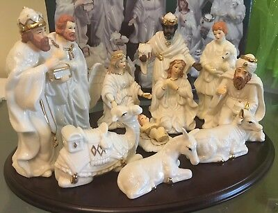 Home For The Holidays Large 10 Pc Porcelain Gold Trim Nativity Set With Tray