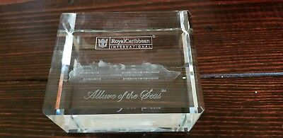 Allure Of The Seas Crystal Glass Paperweight Royal Caribbean
