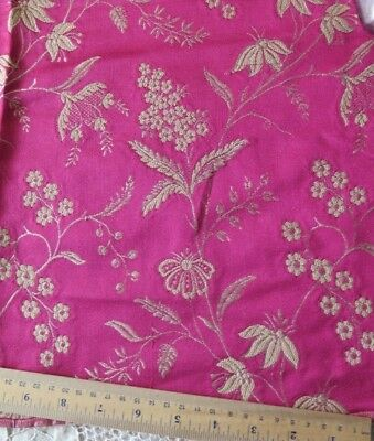 "French Antique Christmas Cherry Red Silk Floral Jacquard Sample Fabric~24""Sq"