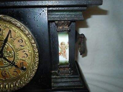Vtg/Antique ANSONIA Mantle Clock w/HAND-PAINTED CHERUBS Columns/Adamantine/RUNS