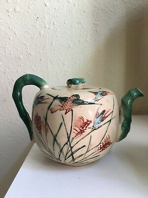 Elegant Antique/vintage Satsuma Teapot. 4'' Birds/floral On Cream. From Estate