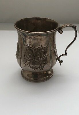 Antique Small Silver Plated Embossed Cup Jug