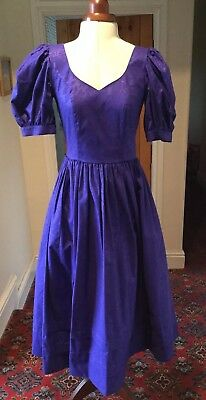 VINTAGE 1980's VICTORIAN STYLE BLUE COTTON BRIDESMAID DRESS BY LAURA ASHLEY