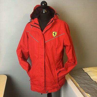 Womens Red Ferrari Racing F1 Rain Jacket Coat Size XL with Hood