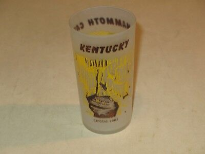 vintage KENTUCKY MAMMOTH CAVE FROSTED DRINKING GLASS~ECHO RIVER & CRYSTAL LAKE