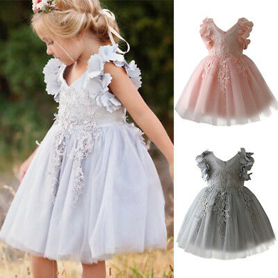 Princess Lace Flower Girl Dress for Kid Ruffle Pleated Formal Birthday Dresses