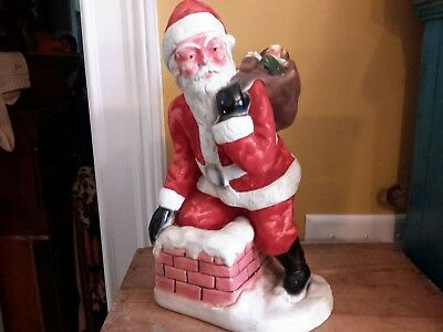 "Antique Christmas Santa Statue Solid Chalk Dated 1943 12"" by 6 1/2"""