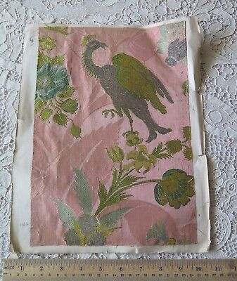 "French Renaissance 1500s Silk & Silver Metallic Bird Brocade Fabric~12.5"" X 9"""