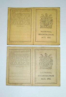 2 x WW1 Original Sheffield National Registration Act ID Cards 1915 Rare