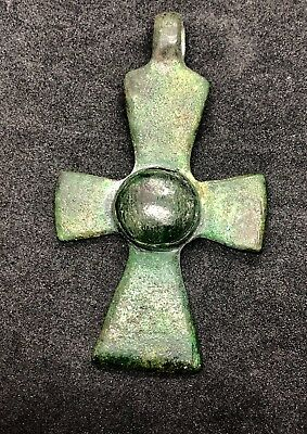 ANCIENT BYZANTINE BRONZE CROSS PENDANT AMULET 66.8x39.4mm
