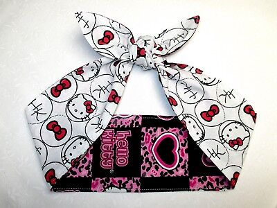 Hair wrap Rockabilly Pinup Head Scarf Hello Kitty Headband dolly bow reversible