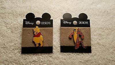 Disney Designs Tigger w/ Black Nose and Winnie The Pooh Tummy Out Pin Buttons
