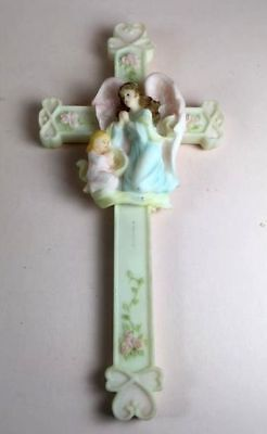 Baby Girl's room sweet cross, blue angel in prayer with little girl in pink!