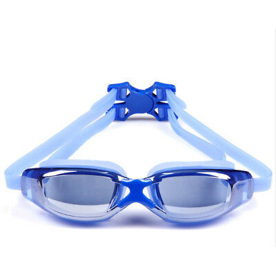 Kids Child Adult Adjustable Anti Fog Swim Swimming Silicone Goggles Glasses Blue