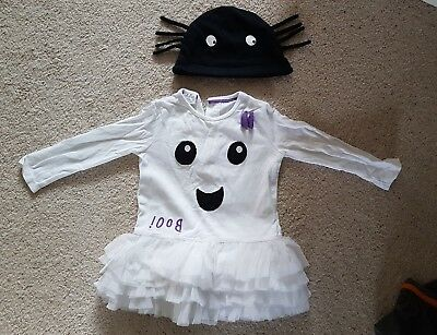 F&F Baby Girl Ghost Halloween Costume with Hat 9-12 Months