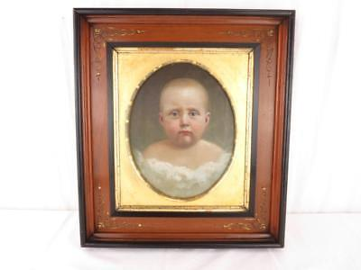 AMERICAN SCHOOL 19th Century Portrait of an Infant Oil on Canvas Baby RARE c1860