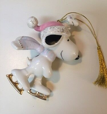 Snoopy and Woodstock Ice Skating Ornament (Christmas, Lenox, Peanuts, UFS)