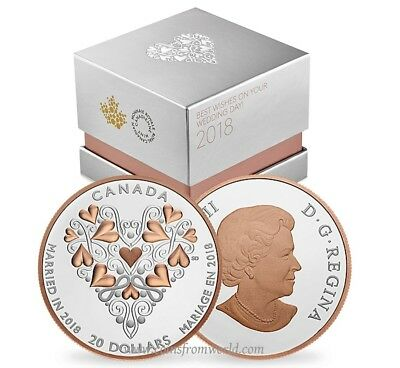 Canada 2018 20$ Best Wishes On Your Wedding Day Pink Gold Plating Silver Coin