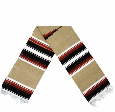 Mexican Yoga Blanket Tan Brown Diamond Stripes Native Serape Boho Falsa Throw XL
