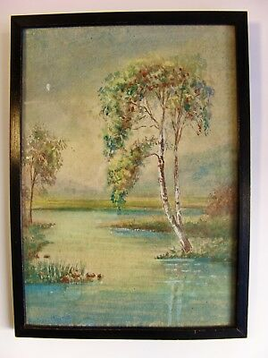Antique Original Framed Watercolor Landscape Painting Signed Beautiful!