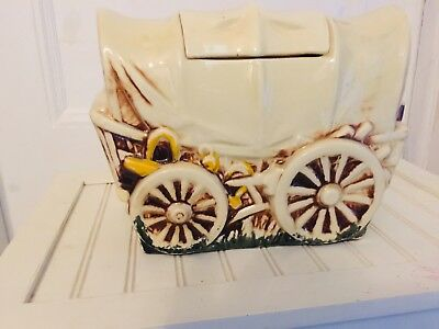 Vintage Mccoy Covered Wagon Cookie Jar With Lid (Early 1960's)