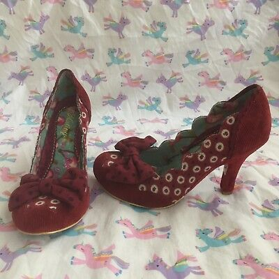 irregular choice Burgundy Corduroy Bow Heels Size 37 (4) Brand New