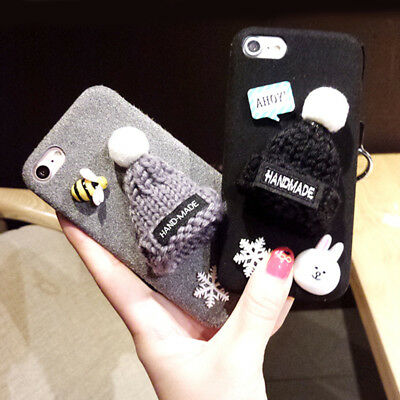 Cute 3D Knitted Hats Plush Furry Back Cover Case For Apple IPhone