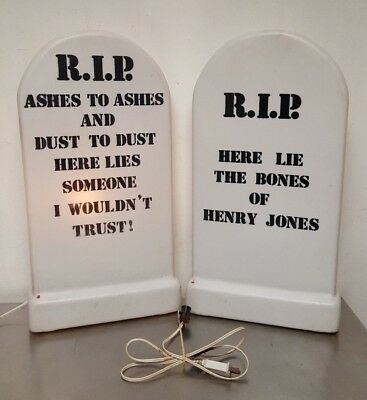 "(2) Halloween Grave Yard Tombstone RIP  22"" Empire Blow Mold with Light Cords"