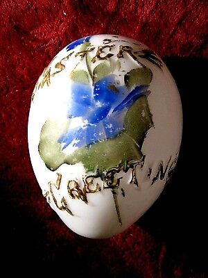 "Large Antique Hollow Hand Painted Milk Glass ""Easter Greeting"" Egg"