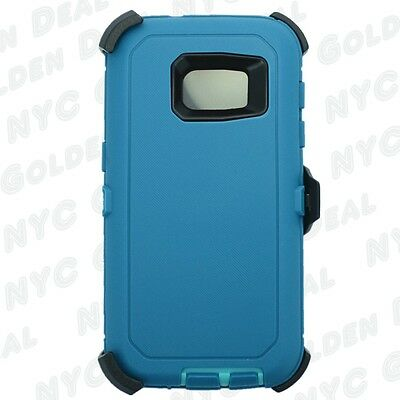 For Samsung Galaxy S7 Defender Case (Belt Clip Fits Otterbox) Cyan Teal New