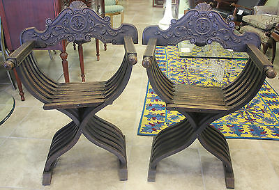 Pair of Italian Renaissance style Savonarola folding chairs