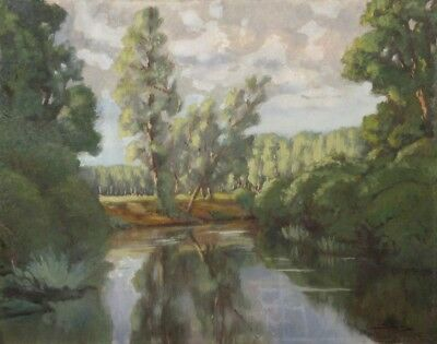 Vintage French Oil Painting, Landscape, River, Poplar Trees, Signed, 1954