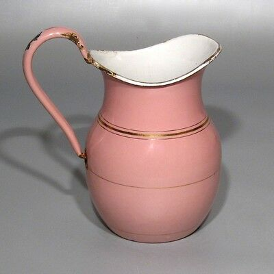 Antique / Vintage French Enamel Enamelware Pitcher, Pink with Gilding