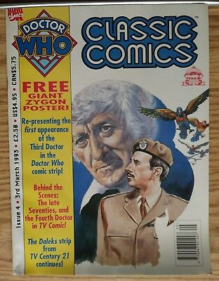 Doctor Who Classic Comics #4 w/ GIANT Zygon Poster Marvel UK 1993 Jon Pertwee
