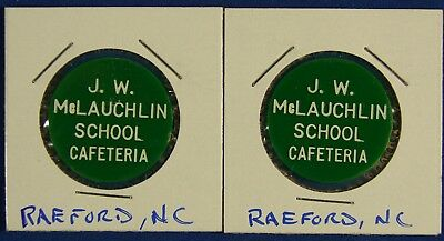 2 Vintage Milk Tokens From J.W. McLauchlin School, Raeford, North Carolina