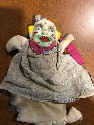 Very Old Antique New Orleans Mardi Gras Clown doll. Found after the Hurricane.