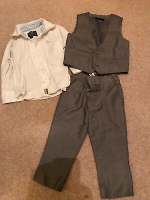 Toddlers grey trousers, waistcoat suit by Next & H&M white shirt age 1.5-2 years