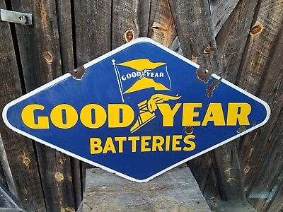 1946 Goodyear Batteries Sign. Double Sided. Porcelain. 48inx26in