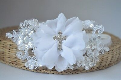 Baby white chiffon flower with a cross wedding lace Baptism Christening Handmade