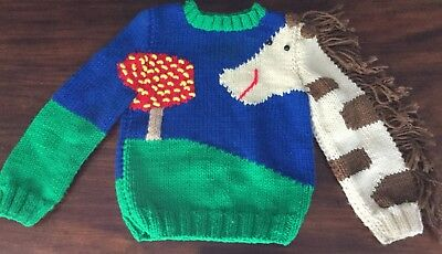 Vintage Hand-Knit Toddler Sweater Horsey With Fringe TOO CUTE!