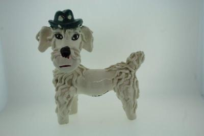 "Vintage Big Spaghetti Poodle with Derby Hat Signed Italy 6.5"" tall"