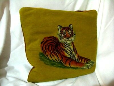 Vintage Needlepoint Tiger Pillow Cross Stitch Embroidered Velvet Feather