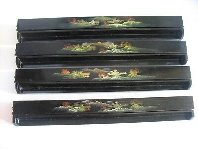 Vintage Chinese Fujian Lacquered Trays for playing Mah Jongg w painted scenes