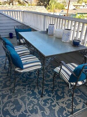 Woodard Vintage Wrought Iron Rectangle Glass Table patio Set With 4 Chairs