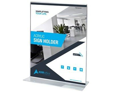 "AdirOffice 8.5"" x 11"" Clear Double Sided T-Shaped Base Sign Holder"