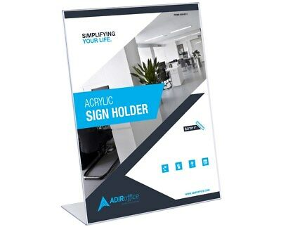 "AdirOffice Acrylic 8.5"" X 11"" Single Slant Back Design Clear Sign Holder 6 Pack"