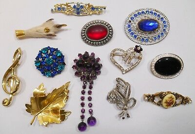 Job Lot Of Antique & Vintage Costume Jewellery Brooches Czech Glass Brooch Etc