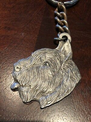 Rare Vintage Bouvier Des Flandres Dog Rawcliffe Pewter Keychain Key Chain Ring
