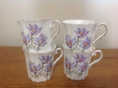 Royal Grafton Fine Bone China Manitoba Crocus Lot 4 Teacups